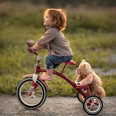 Murray, Adrian C - Boy & Teddy Bear on Tricycle So Cute Baby, Baby Kind, Cute Babies, Precious Children, Beautiful Children, Little People, Little Boys, Baby Pictures, Cute Pictures