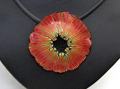 Halskette Statement in schwarz und rot aus handgefertigten von polymerdesign aus polymer clay