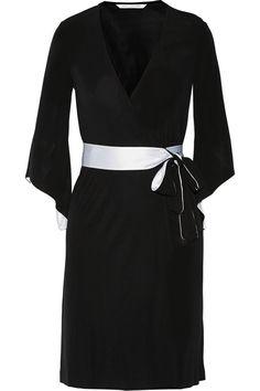 157c4e9a4f30 Aurora satin-trimmed jersey-crepe wrap dress   THE OUTNET Fashion Outlet,  Dresses