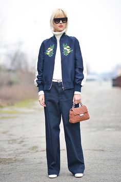 Linda Tol poses wearing a Stella McCartney jacket and Diesel pants before the Diesel Black Gold show during the Milan Fashion Week Fall/Winter...