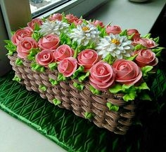 Learn how to create this beautiful spring flower basket cake with cake decorating. cakes may be baked and decorated for almost any social occasion. Cake Decorating Techniques, Cake Decorating Tips, Cookie Decorating, Buttercream Cake Decorating, Cake Icing, Eat Cake, Cupcake Cakes, Gorgeous Cakes, Pretty Cakes