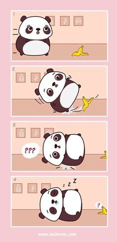 Panda slip on Banana peel Panda Love, Red Panda, Cartoon Panda, Cute Cartoon, Panda Wallpapers, Cute Wallpapers, Amor Panda, Panda Kawaii, Animals And Pets