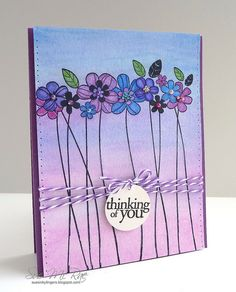 lovely card with very long-stemed flowers, not roses,  ... luv the blue/purple/pink palet used ... obre-type look background using Distress Inks ... Hero Arts ....