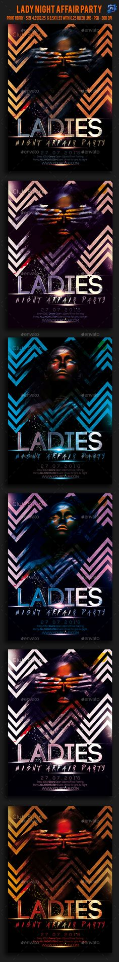 Ladies Night Affair Party Flyer Template PSD. Download here: https://graphicriver.net/item/ladies-night-affair-party-flyer-/17415666?ref=ksioks