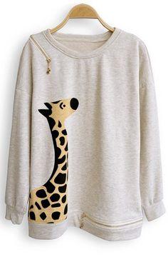 Beige Giraffe Print Batwing Long Sleeve Zipper Embellished Sweatshirt