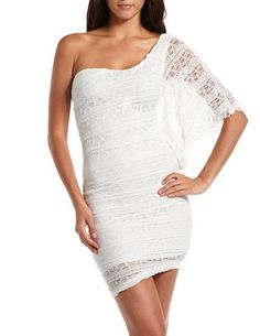 One Shoulder Crochet Lace Dress: Charlotte Russe