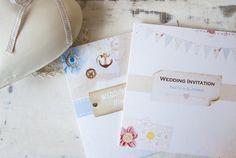 ヴィンテージ航海とみすぼらしいシックホオジロ結婚式の招待