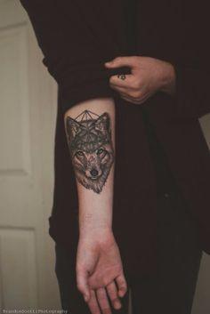 geometrical wolf tattoo