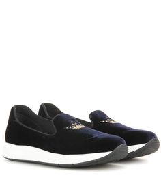 CHURCH'S Omnia Embroidered Velvet Slip-On Sneakers. #churchs #shoes #sneakers