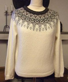 "Designer: Karin Ivarsson Kits for ""Svanen"" - The Swan and for ""Stora Svanen"" - The Big Swan are available. Fair Isle Knitting Patterns, Knitting Designs, Knitting Yarn, Baby Knitting, Fair Isle Pullover, Norwegian Knitting, Knit Vest Pattern, Nordic Sweater, Crochet Woman"