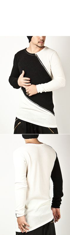 Tops - ★SOLD-OUT★ Asymmetric Diagonal Zipper & Contrast Accent Long Slim Tee - 119 for only 33.00 !!!