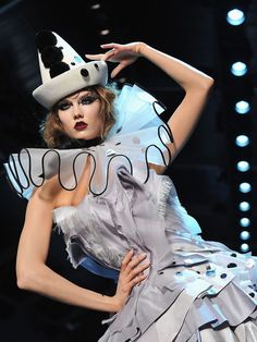 Modern Clown make up and costume. From Dior Haute Couture Autumn / Winter 2011