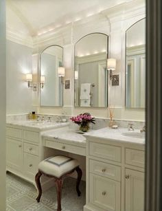 Double Bathroom Vanity With Makeup Station bathroom vanity ideas. classic bathroom vanity. #bathroom #vanity