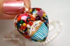 Resin Jewelry Cupcake Cutie Candy Sprinkles Heart Shaped Necklace ... by isewcute. $18.00, via Etsy.