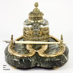 """Antique French Crystal Inkwell, Marble Desk Stand, Empire Revival Griffens, Swans -- c. 1850-70 -- An exceptionally fine Napoleon III Dore Bronze trimmed crystal inkwell mounted on a fine heart-shaped marble base, that incorporates the Napoleon era elements of design thought of as """"French Empire""""."""