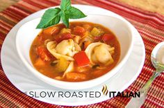 Easy Tortellini and Vegetable Soup from @SlowRoasted