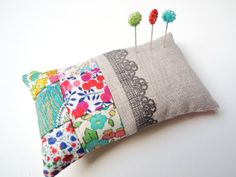 Pin Cushion in linen with Liberty of London by SewSweetViolet, £12.90