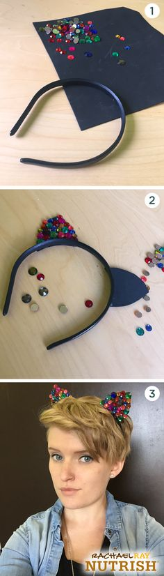 """You're sure to shine on Halloween with these DIY bejeweled cat ears. They're so simple to make, you'll be done before you even get a chance to say """"me-ow!"""" Just hot glue foam ears onto a headband and then embellish with gems of different sizes and colors."""