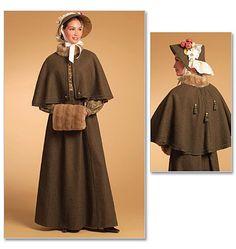 Butterick B5265 Sewing Pattern Fur Collar Cape, Fur Muff, Skirt, Bonnet, Making History, Size AA 6-8-10-12, Civil War, Pioneer