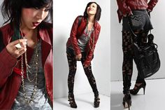 6126 Star Rip/Tear Leggings (Black), Not Rational Amy Bag In Naked Leather (Black), Dolce Vita Viola (Black Leather), Cc Skye Large Stud, Hysteric Glamour Studs Mix Necklace, Bijules Hairrings   Tricolor (Earrings), John Varvatos Leather Zip Jacket (Blood