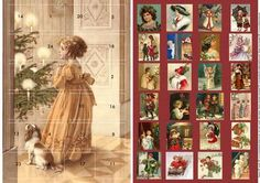 Another in my series of advent cards. To be given at the start of December and works as a traditional advent calendar. I also have a cute and a traditional xmas version listed.  I have removed any flaws in the vintage images.