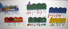 Toukan jalat ovat ryijysolmuilla kiinnitettyjä lankoja. www.kolumbus.fi/mm.salo Yarn Crafts For Kids, Crafty Kids, Painting For Kids, Knots, Kids Coloring, Knot