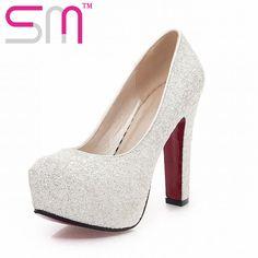 32f6b98a868 J   K 2019 nueva marca zapatos de tacón alto brillo zapatos de boda bombas  lentejuelas caliente venta de moda de tacón grueso zapatos de plataforma.  mujer ...