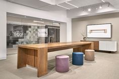 Preston is meant for gathering. Its seated and standing height options make it the perfect place to work together or have a casual conversation. The table is simple in design, yet complex and elegant in its details. Community Space, Conference Table, Commercial Design, Preston, Entryway Tables, Furniture Design, Interior Design, Wood, Inspiration
