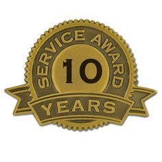 PinMart's 10 Years of Service Award Lapel Pin - C011U0ZFNZ9 - Brooches & Pins  #jewellrix #Brooches #Pins #jewelry #fashionstyle