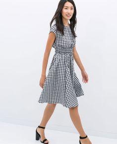 CHECKERED DRESS WITH ELASTIC WAIST from Zara