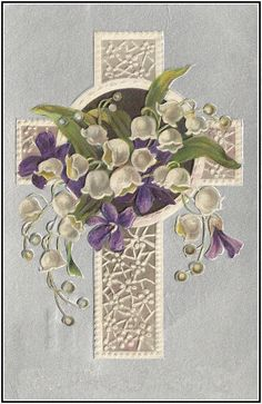 Easter Cross with violets and Lily of the valley
