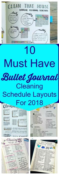 10 Must Have Bullet Journal Cleaning Schedule Layouts For 2018 #cleaningschedule