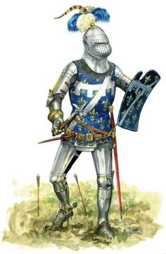 French knight at Agincourt, Being unhorsed in this type of armor was not… Medieval Knight, Medieval Armor, Medieval Fantasy, Battle Of Agincourt, Armadura Medieval, Templer, Late Middle Ages, Knight Armor, Fantasy Armor