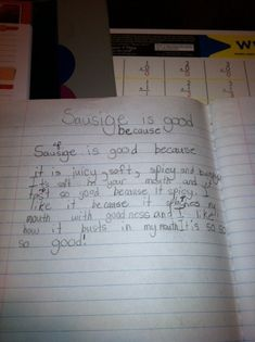Check out this funny photo of a little kid's essay about how sausage is delicious, on NickMom.com!