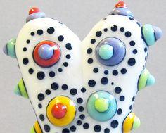 Mod Spot Polka Dot HeartHandmade Lampwork Glass by BeadygirlBeads