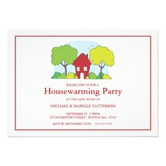 Little Red House Housewarming Party Invitation