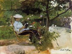 Joaquin Sorolla Y Bastida In the Garden hand painted oil painting reproduction on canvas by artist People Reading, Woman Reading, Reading Art, Reading Books, Claude Monet, Garden Painting, Painting & Drawing, Landscape Pictures, Landscape Paintings