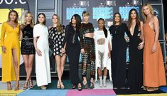 Famous friends: (L-R) Gigi Hadid, Martha Hunt, Hailee Steinfeld, Cara Delevingne, Selena Gomez, Serayah, Mariska Hargitay, Lily Aldridge and Karlie Kloss were all there to support Taylor