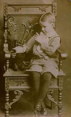 John Henry Murphy with Muzzled Stuffed Bear, Albumen Cabinet Card, Circa 1890