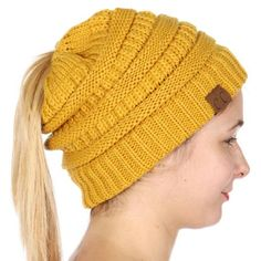 6db47f79830 Mustard Yellow CC Beanie Hat with Open Ponytail