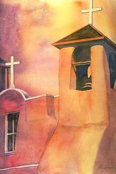 Icon adobe bell tower original watercolor painting by Nita Leland Southwestern Paintings, Southwestern Art, Watercolor Artists, Watercolor Paintings, Acrylic Paintings, Art Themes, Artist Gallery, Learn To Paint, Pictures To Paint