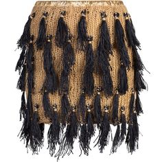 Claire Andrew - Tassle Fringe Skirt ($395) ❤ liked on Polyvore featuring skirts, bottoms, knee length leather skirt, black skirt, metallic leather skirt, leather fringe skirt and tassel skirt