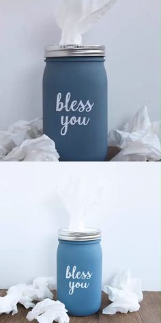 this Mason Jar Tissue Holder for your home! A fun farmhouse style project that only takes minutes to make with your Cricut! diy home crafts Mason Jar Issue Holder Pot Mason Diy, Mason Jar Crafts, Mason Jar Projects, Diy Crafts With Mason Jars, Pickle Jar Crafts, Uses For Mason Jars, Cricut, Diy Para A Casa, Country Chic Cottage