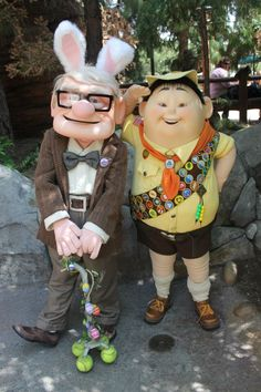 "Happy Easter ""UP"" Style. I have found Russell and Dug the dog at Animal Kingdom, but I have yet to see Carl anywhere. Guess he can't get busted out from the old-folks home as much. Walt Disney, Disney Cast, Disney Style, Disney Love, Disney Magic, Disney Parks, Disney Pixar, Dug The Dog, Disney Characters Costumes"
