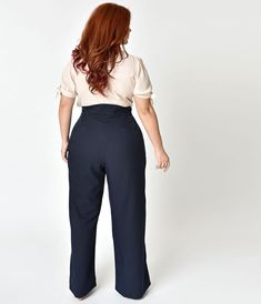 2982bddf5a58f Plus Size 1940s Style Midnight Blue High Waist Sailor Ginger Pants