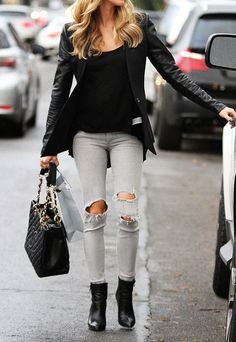 Styling tips / gray ripped jeans black leather jacket