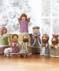 Love this Nativity Scene Nine-Piece Figurine Set on #zulily! #zulilyfinds