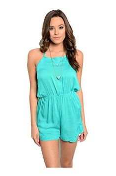 2LUV Womens Sleeveless Halter Neck Romper Green L >>> Click image to review more details.(This is an Amazon affiliate link and I receive a commission for the sales)