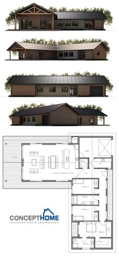 Small House Plan -ove the windows on the hallway Modern House Plans, Small House Plans, House Floor Plans, Metal Building Homes, Building A House, Future House, My House, Pole Barn Homes, Shed Homes