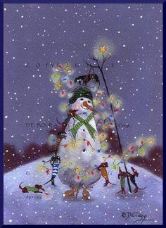 Dachshund Snowman Christmas Lights Holiday Joy Doxie PRINT by Deborah Gregg Grinch Stole Christmas, Christmas Mood, Christmas Snowman, All Things Christmas, Christmas Lights, Christmas 2015, Christmas Photos, Christmas Greetings, Christmas Crafts